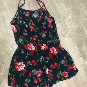 Other - Blue romper with red roses